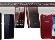 Сравнение характеристик Sony Xperia Z vs HTC Droid DNA vs Samsung Galaxy S3