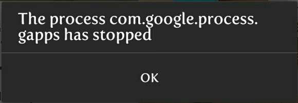 "Correcting the error ""The process com.google.process.gapps suddenly stopped"""