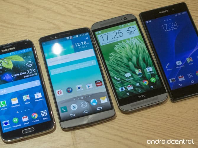 LG G3 сравниваем с Galaxy S5, HTC One M8, Sony Xperia Z2 на фото