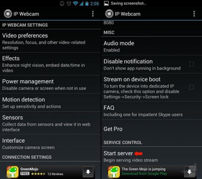 Как выработать с Android-смартфона камеру слежения другими словами радионяню