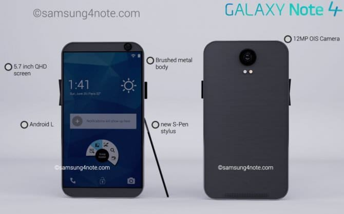 Новый рендер Samsung Galaxy Note 4 от Риши Рамеш