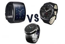Сравнение Samsung Gear S vs LG G Watch R vs Motorola Moto 360