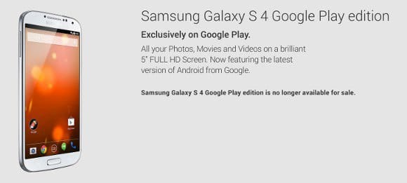 Из продажи исчез Samsung Galaxy S4 Google Play Edition