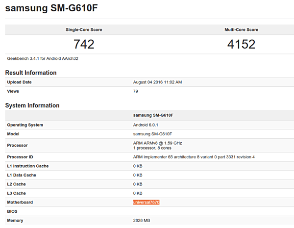 Samsung Galaxy On7 (2016) с процессором Exynos замечен на Geekbench