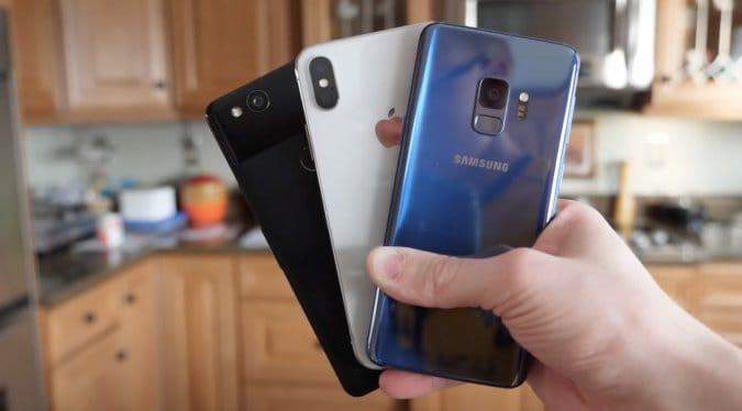 Сравнение скорости работы Samsung Galaxy S9, Pixel 2 и iPhone X